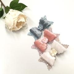 Velvet Glitter medium size bow clips trio