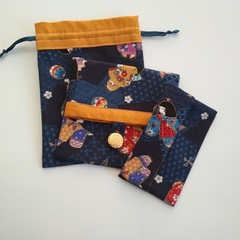 Organiser pouch set - Japanese girl & geometric designs - Blue & Butterscotch