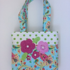 Child's handbag – tote style – crocheted flowers