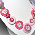 Pink button necklace - Strawberry Fields.