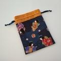Organiser pouch set - Japanese girl & geometric designs - Blue & Butterscotch