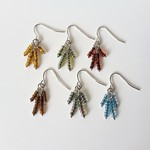 Small Tassel bead earrings ( Boho Natural Chic  Blue Red Green Brown )