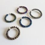 Metallic seed bead ring ( Modern Art deco Stacking ring  Dark Blue Green Purple