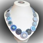 Button necklace - Blue Textures