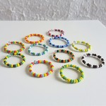Colourful seed bead Stackable ring ( Boho African Tribal  Multi colour )