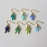 Small Blue & Green Tassel bead earrings ( Marine Boho Tropical Colourful  Gold)