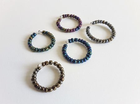 Metallic seed bead ring ( Modern Art deco Stacking ring  Dark Blue Green Purple