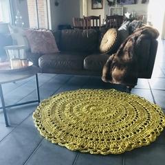 Mustard Yellow Large Crochet floor rug free postage