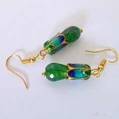 Emerald and enamel earrings