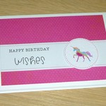 Girls Happy Birthday card - pink rainbow unicorn