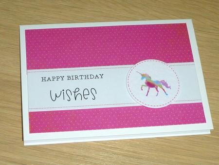 Girls Happy Birthday card - pink rainbow unicorn