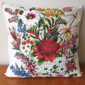 Vintage Retro Australian Banksia Waratah Wildflowers Cushion