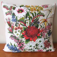 Vintage Retro Australian Banksia Waratah Wildflowers Cushion