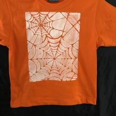 """Size 6 Orange 100% Cotton T-Shirt """"Spider Web"""""""