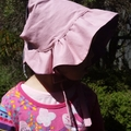 Adjustable and Reversible Baby Sun Bonnet - Dusky Pink and purple