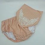 Dribble bib and nappy cover set. lace embellished apricot white polka dot print