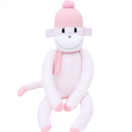 'Macy' the Sock Monkey - white with pink and grey - *READY TO POST*