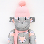 'Frankie' the Sock Monkey - grey with peach pink - *READY TO POST*