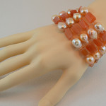 Peach Moonstone and Pearl Bracelet - 14k Gold Filled