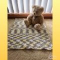 Unisex hand crocheted baby playmat, rug, blanket.