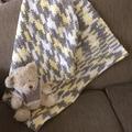 Unisex hand crocheted baby playmat, rug, blanket.