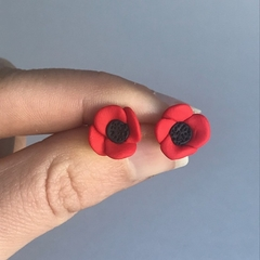 Poppies- polymer clay handmade stud earrings on surgical steel backs
