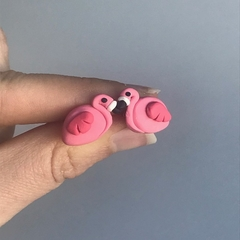 Flamingo - polymer clay handmade stud earrings on surgical steel backs