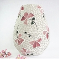 elegant mosaic vase  with pink flowers