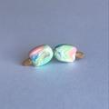 Rainbow paddlepop- polymer clay handmade stud earrings on surgical steel backs