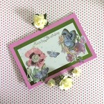 Pink Birthday Card with Fairy, Flowers and Butterflies