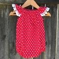 Baby girls Red star playsuit Christmas outfit. Pom Pom trim