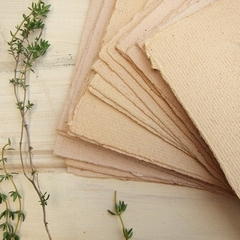 Handmade Onion paper, 4 Recycled paper sheets, Natural plant dyed paper.