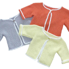 Nectarine/Apricot cotton cardigan. Size 00. Also in lemon.