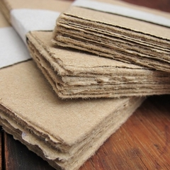 Brown Handmade paper sheets, Recycled paper, Rustic Homemade paper, Eco friendly