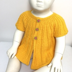 1 yr Toddler Cardigan, FREE POST , Sunshine Yellow Wool, Hand Knit