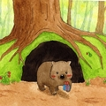 Wombat Christmas Card, Gift Card, Birthday Card, Valentine Gift Card