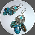Matrix turquoise and turquoise earrings