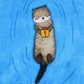 Cute Otter Christmas Card, Gift Card, Valentines Card, Birthday Card