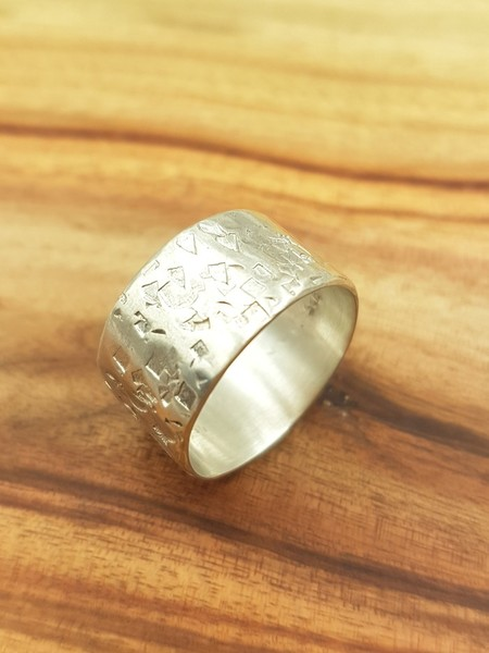 Silver ring, rustic textured unisex wide sterling silver ring band US size 8.5