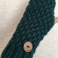 Stunning peacock green fingerless gloves handwarmers mens or ladies
