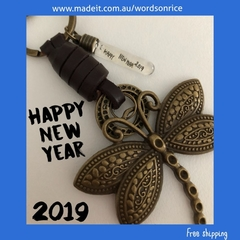 HAPPY NEW YEAR 2019 - dragonfly keyring/bagcharm
