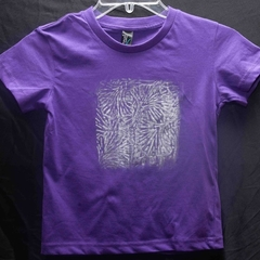 "Size 4 100% Purple Cotton T-Shirt ""Silver Streak"""