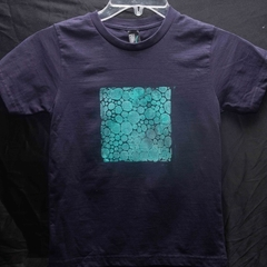 "Size 6 Navy 100% Cotton T-Shirt ""Bubbles"""