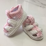 3 - 9 mths Baby Sandal Shoes, White / Pink , Hand Knit