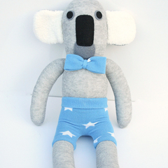 'Kurt' the Sock Koala - grey with blue shorts and bow tie  - *READY TO POST*