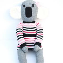 'Kylie' the Sock Koala - grey with pink  - *READY TO POST*