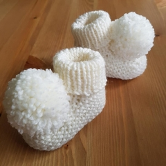 Made to Order - Big Pompom Stay On Booties - Hand Knitted - Pure Merino Wool