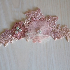 Pink Lace Beaded Hair Comb