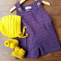 Little Overalls - Size 1 - 100% Cotton  Check Fabric