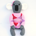 'Kara' the Sock Koala - grey with pink  - *READY TO POST*
